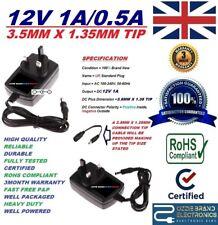 UK 12 V 1 A 1000 mA AC/DC 3.5 mm x 1.35 mm 3.5X1.35 Punta Alimentatore Adattatore Caricatore