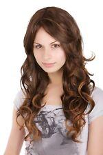Women's Wig Brunette Brown Mix Highlights Light Curly Ca 55 Cm Long A25-2T30