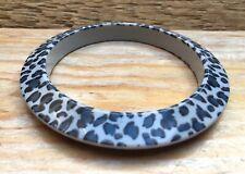 Retro Animal Print Plastic Bangle/Skinny Bracelet/Kitsch/Leopard Skin Effect