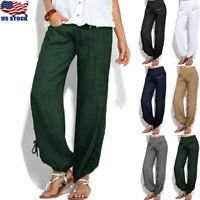 Women Autumn Cotton Linen High Waist Long Pants Loose Comfort Trousers Plus Size