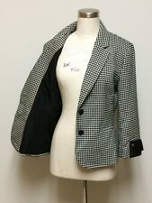BANANA REPUBLIC 10 Black White Houndstooth Women's Double Button Blazer Jacket