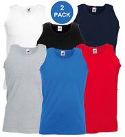 2 Pack Fruit of the Loom Mens Athletic Vest Plain Tank Top - S, M, L, XL, 2XL