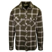 Rip Curl Men's Olive Green Cream Plaid L/S Flannel Shirt (S21)