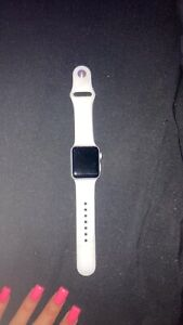 Apple Watch Series 3 38 mm Silver Aluminum Case White Sport Band Smartwatch -...