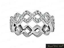 1.0CT Round Diamond Square Pattern Eternity Band Ring 14k White Gold GH I1 Prong