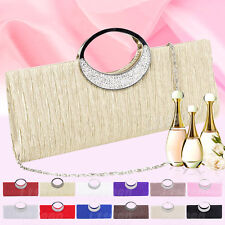 Womens Silver Black Formal Wedding Evening Clutch Bag Glittery Diamante Handbag
