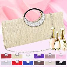 Womens Silver Black Formal Wedding Evening Clutch Bag Glittery Diamante Handbag