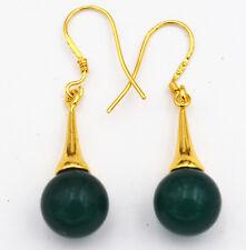 Beautiful Natural Dark Emerald Gemstone 925 Silver Gold-plated/Dangle Earrings