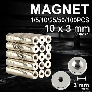 Strong Round Disc Magnets Ring Hole Rare Earth Neodymium Magnet 10 x 3mm