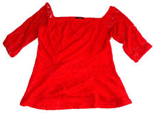 BNWT STUNNING RED LACE TOP BLOUSE FLORAL PATTERN SIZE 18
