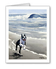 BOSTON TERRIER AT THE BEACH Set of 10 Note Cards With Envelopes