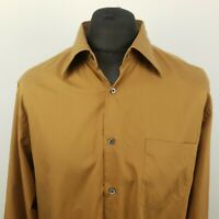HUGO BOSS Mens Vintage Shirt 43 17 XL Long Sleeve Brown Regular Fit Cotton