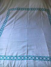 Z Gallerie Embroidered Aqua Marine White  Cotton  QUEEN Duvet Cover+ 2 Euro Sham