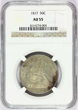 1877-P U.S. Seated Liberty Half Dollar 50 Cents Silver Coin - NGC AU 55