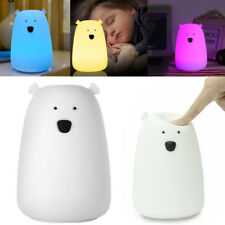 USB Silicone Bear LED Children Animal Night Light Soft Cartoon Baby Nursery Lamp