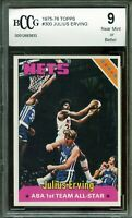 1975-76 Topps #300 Julius Erving Card BGS BCCG 9 Near Mint+