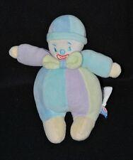 Peluche doudou lutin garçon clown SUCRE D'ORGE bleu mauve vert rayé 20 cm TTBE