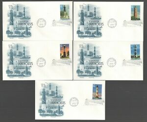 #3787-91 37c Southeastern Lighthouses Set of 5 FDC's with Artcraft Cachets G5950
