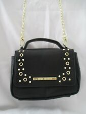 Steve Madden Small Black Faux Leather Gold Studs Cross Body Purse