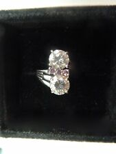 MOISSANITE AND PINK SAPPHIRE 9CT WHITE GOLD RING