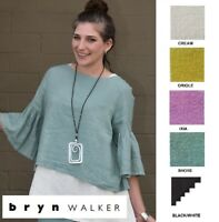 BRYN WALKER Light Linen  FRIDA TOP  Ruffle Babydoll Shirt  1X 2X 3X  SPRING 2018