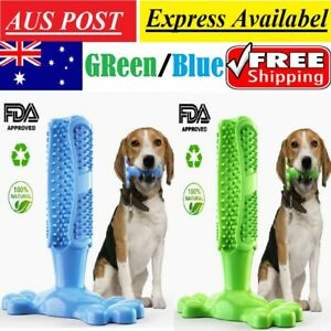Pet Dog Toothbrush Chew Bite Toy Dental oral Care Brush Stick Natural Rubber NEW