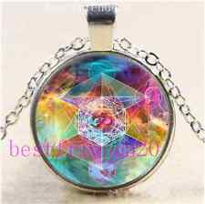 OM Metatron's Cube Photo Cabochon Glass Tibet Silver Chain Pendant Necklace