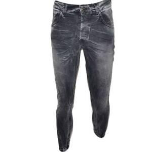Jeans uomo nero denim lavaggio graduale slim fit a cavallo basso 4 tasche moda c
