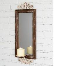 Country new distressed wall mirror with pillar candle Sconce / nice