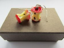 Red Apple Fruit 3D Core - Yummy 5 Five A Day Resin Fun Earrings  - Boxed