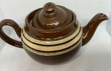 Antique TEAPOT ALB Striped BROWN BETTY  Alcock Lindley & Bloore  England