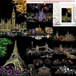 Scratch Painting Rainbow Paper Black Sketch DIY Craft City  Night View with Tool
