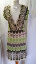 By Soon Ladies Knee Length Sleeveless Deep V Neck Dress Green Greys Gold Size 14