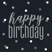 Black & Silver Glitz Happy Birthday Luncheon Napkins, 16ct