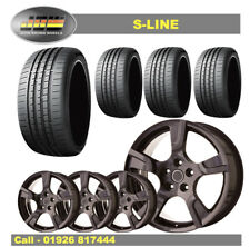 """8""""x18"""" S-LINE GLOSS BLACK ALLOY WHEELS+TYRES TO SUIT VW T5 T6 SET OF 4"""