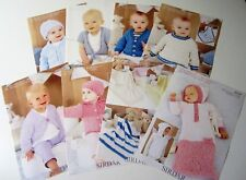 Lot of 8 Sirdar SNUGGLY BABY and BUBBLY knitting yarn patterns Birth to 7 years