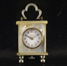 ANTIQUE RALCO (MOVADO) MINI MINIATURE MOTHER OF PEARL SWISS CARRIAGE CLOCK WATCH