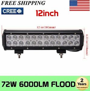 "12"" inch 72W Led Work Light Bar Flood SUV Driving Offroad Truck Boat Ford 60W"