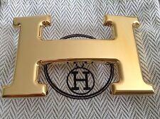 HERMES Authentique et superbe boucle de ceinture dorée lisse - Neuve