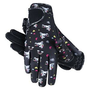 Childrens Kids Equestrian Horse Riding Gloves Synthetic Leather Lycra Unicorn