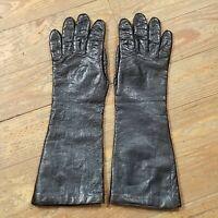 "Vtg Perrella Gloves Kidskin Leather Italian Black Acrylic Blend Lined Sz 7 14"""