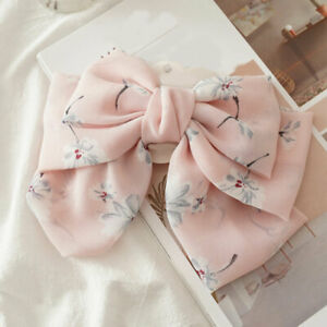 Women Oversized Bow Steel Hair Clip Floral Barrette Ponytail Hair Accessories