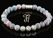 Agate Bracelet Pearl Bracelet Silver Beads Buddha Colourful Matt 0 5/16in
