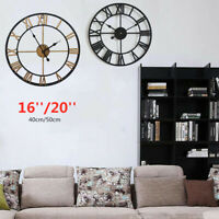 New Large Outdoor Garden Wall Clock Roman Numerals Giant Open Face Metal 40/50cm