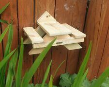 Squirrel Bird Feeder Table Mini Picnic Bench Heart Shape Woodgrain