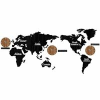 World Map Digital Wall Clock Wood Watch Modern Home Living Room Decor 3D DIY New