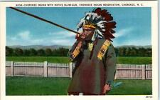 CHEROKEE INDIAN RESERVATION, NC   Native American with BLOW-GUN c1940s Postcard
