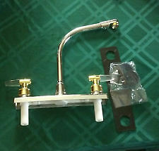 """American Motorhome RV 8"""" Chrome Kitchen Tap with Gold Handles"""