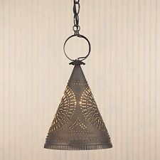 Madison Witch's Hat Light in Blackened Tin by Irvins Country Tinware