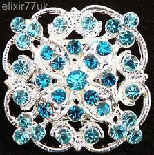 NEW SILVER FLOWER BOUQUET BROOCH BLUE DIAMANTE CRYSTAL WEDDING PARTY PIN BROACH